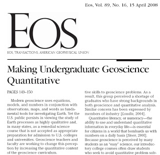 Making undergraduate geoscience quantitative.