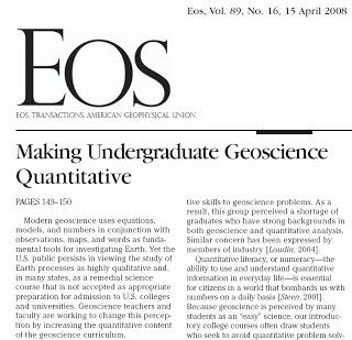 Making undergraduate geoscience quantitative.
